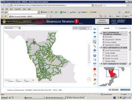 Una schermata del progetto realizzato alla Provincia di Cosenza